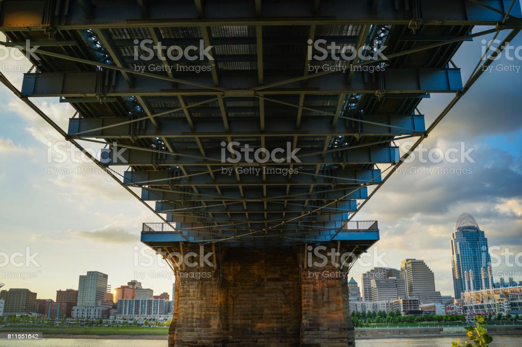 John A. Roebling Suspension Bridge stock photo