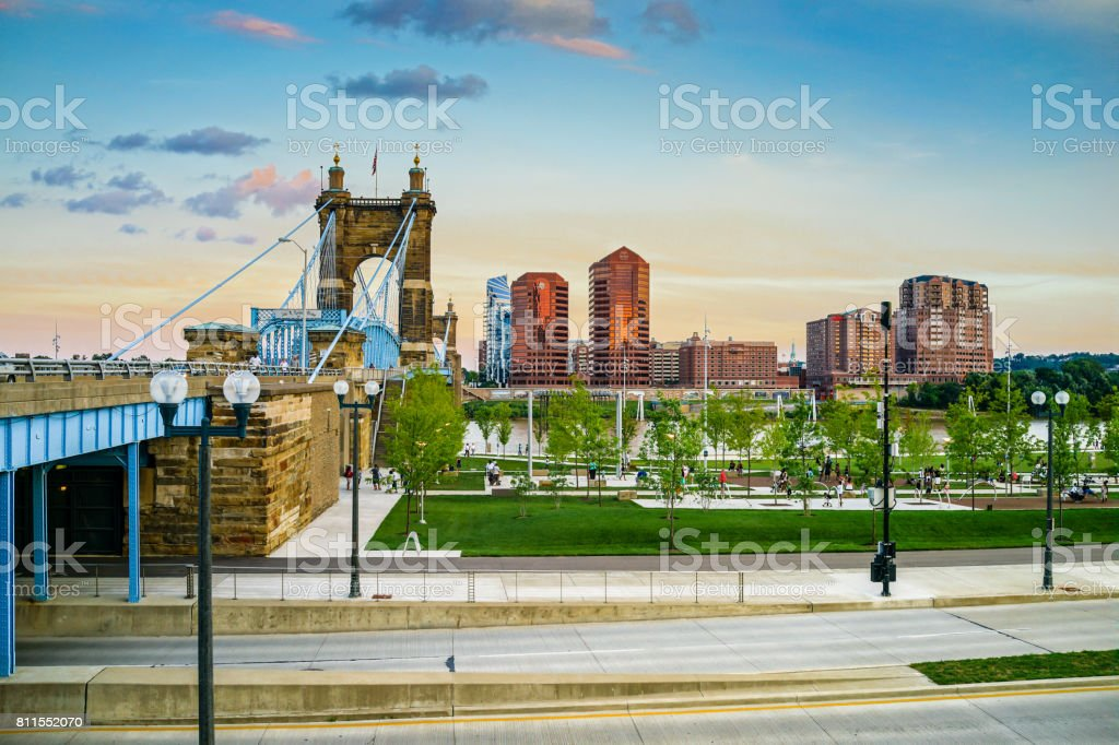 John A. Roebling Suspension Bridge with Sunset stock photo