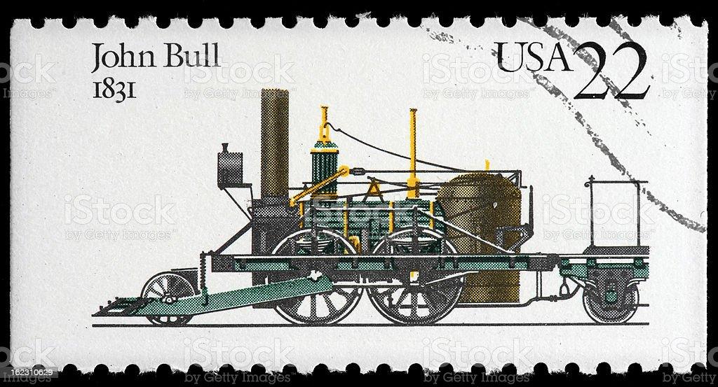 John Bull Railroad Steam Locomotive Postage Stamp stock photo