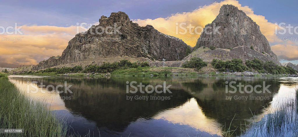 John Day River at Sunset Panorama stock photo