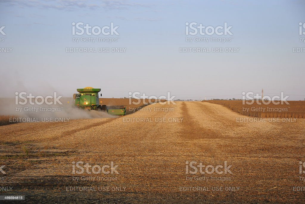 John Deere Combine Harvesting Soybeans royalty-free stock photo