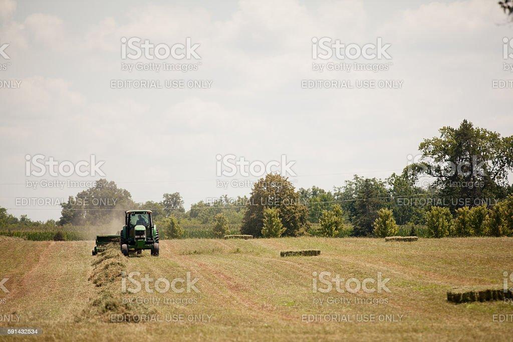 John Deere Hay Harvest stock photo