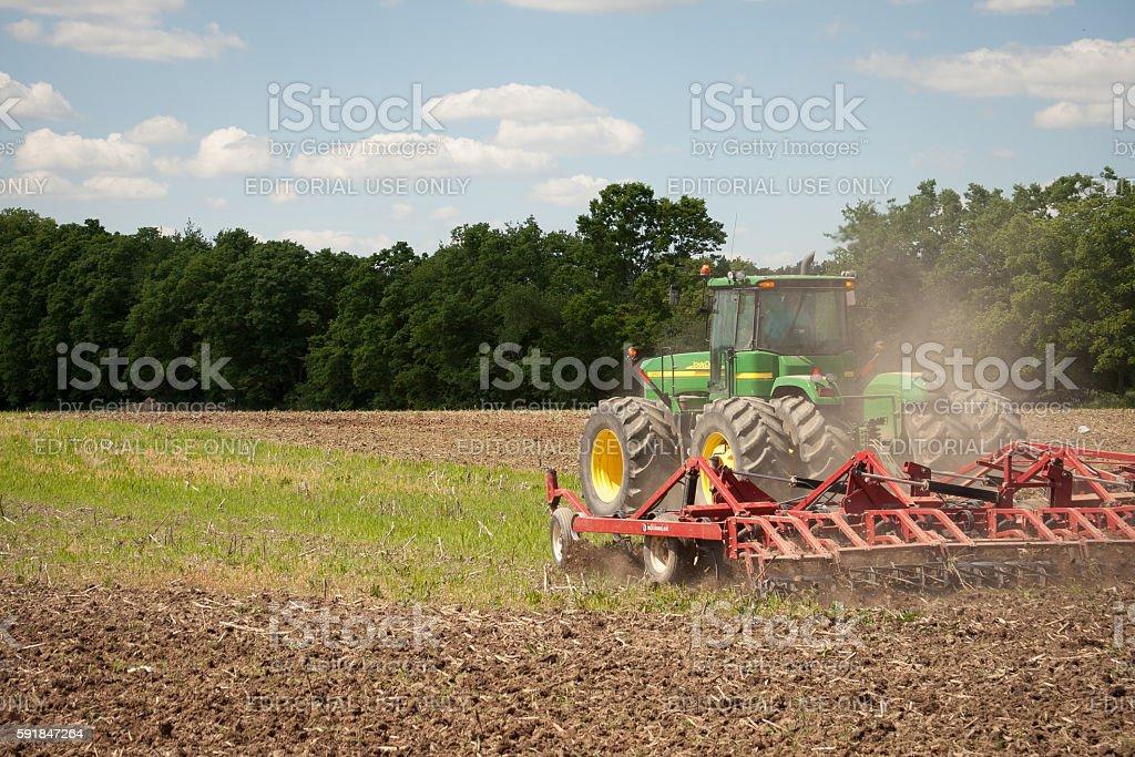 John Deere Planting Crops stock photo