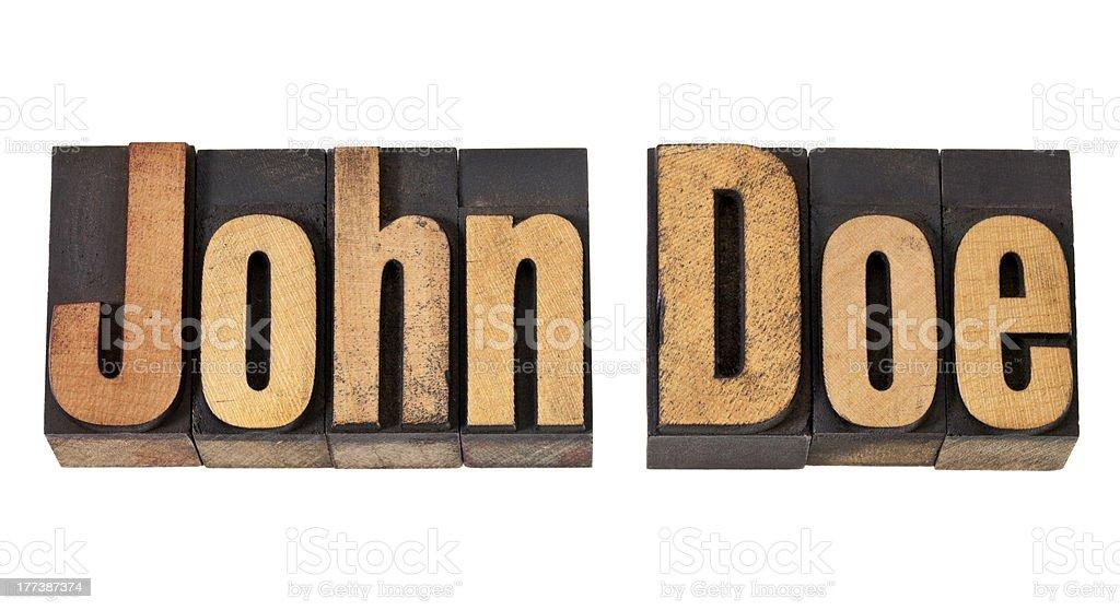 John Doe name  in wood type stock photo