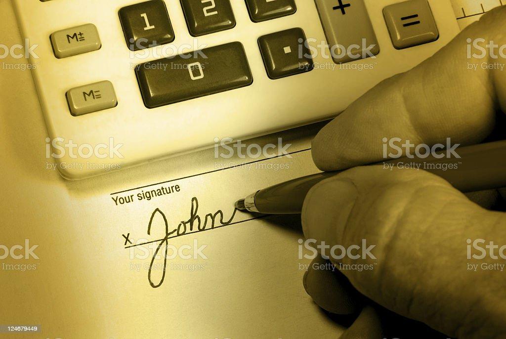 John Doe Signs His Name stock photo