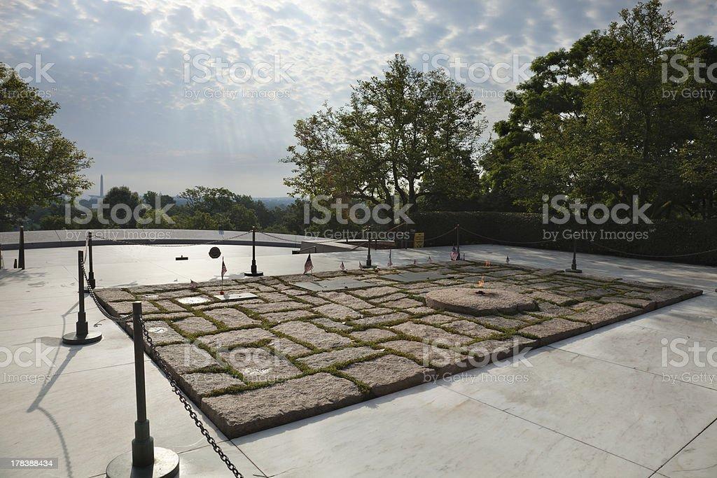 John F Kennedy gravesite at Arlington National Cemetery royalty-free stock photo