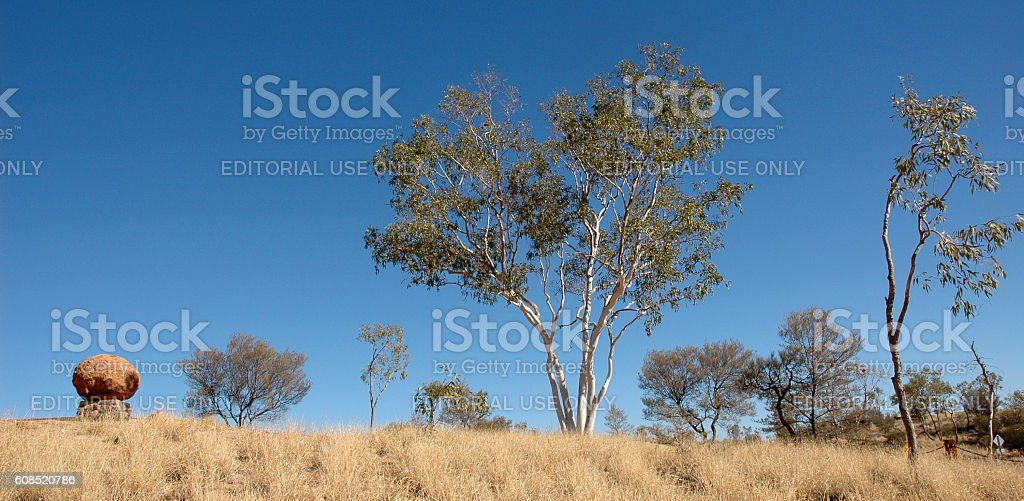 John Flynn's grave near Alice Springs. Central Australia stock photo