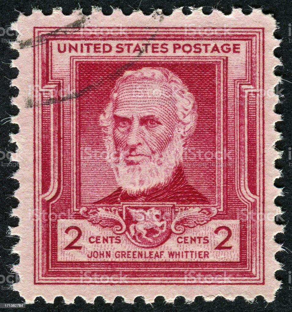 John Greenleaf Whittier Stamp stock photo