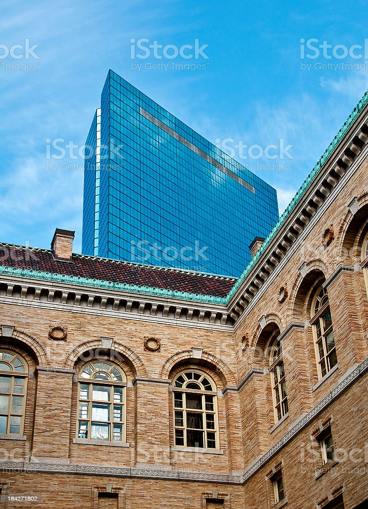 John Hancock Building Viewed from Courtyard of Boston Public Library stock photo