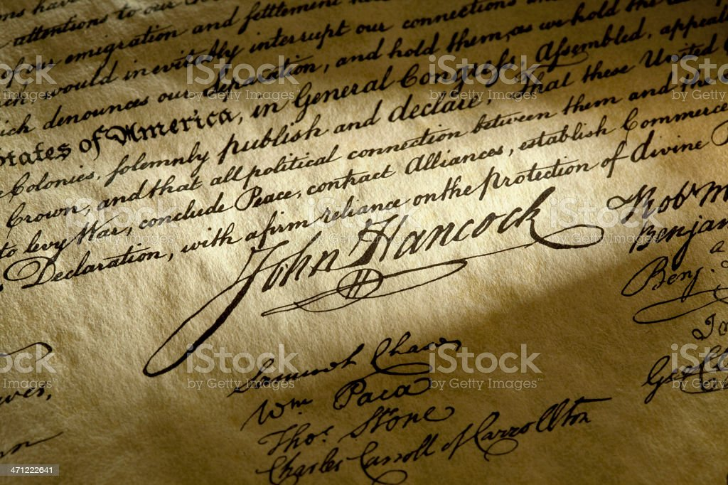 John Hancock Signature on The USA Declaration of Independence royalty-free stock photo