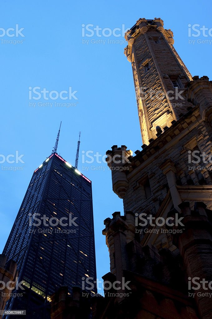 John Hancock Tower and Chicago Water royalty-free stock photo