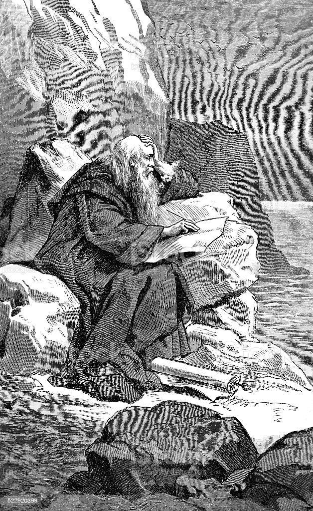 John in the Island of Patmos stock photo