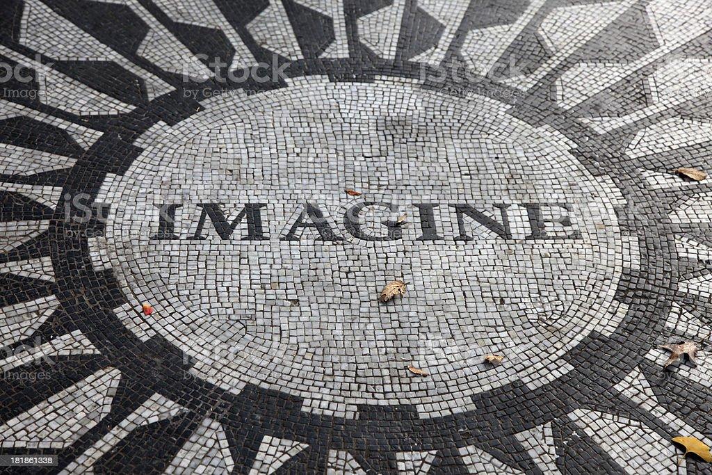 John Lennon Imagine stone mosaic in Central Park stock photo