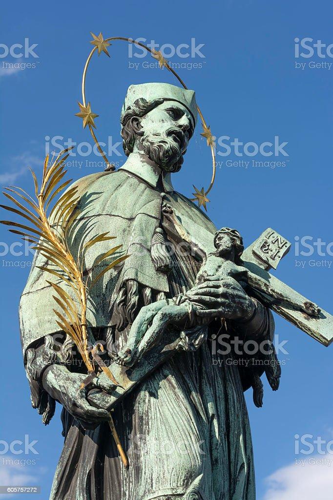 John of Nepomuk Statue at Charles Bridge, Prague, Czech Republic stock photo