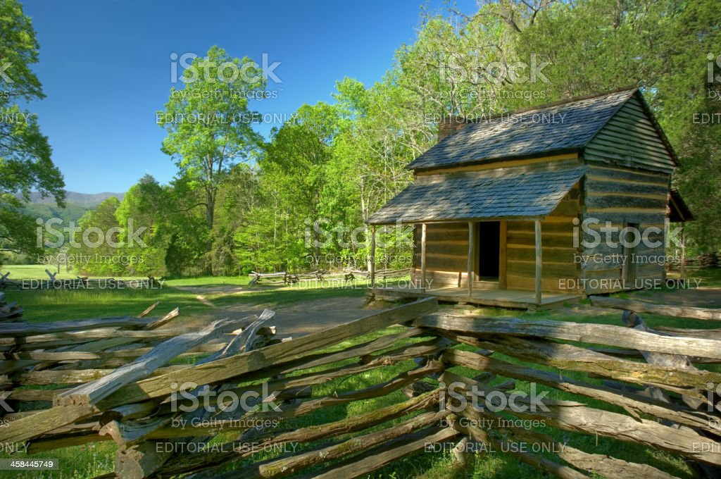John Oliver's Cabin in Cades Cove of Great Smoky Mountains stock photo