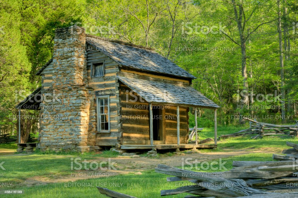 John Oliver's Cabin in Great Smoky Mountains, Tennessee, USA stock photo