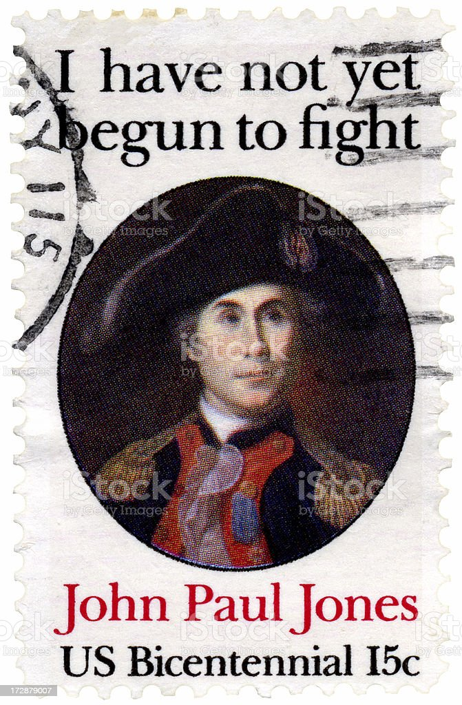 John Paul Jones Naval Hero Quote Stamp stock photo