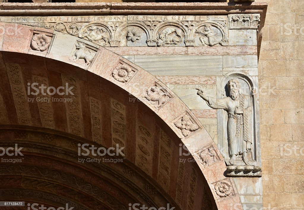 John the Baptist from Verona Cathedral romanesque porch stock photo