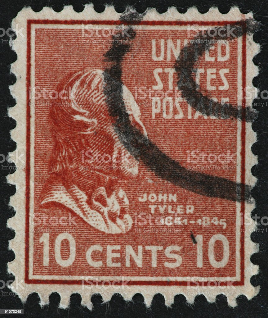 John Tyler stamp stock photo