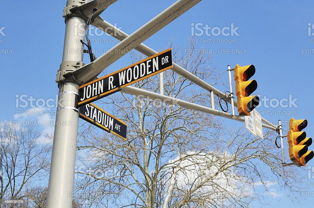John Wooden Drive Sign Purdue University West Lafayette Indiana Campus stock photo