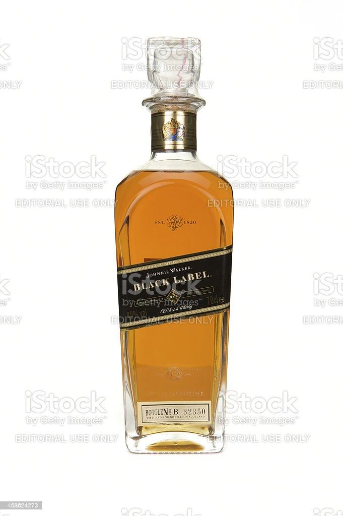 Johnnie Walker Black Label whisky millennium decanter on white background stock photo