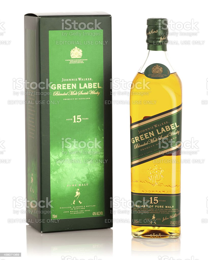 Johnnie Walker Green Label Scotch Whisky with Box stock photo