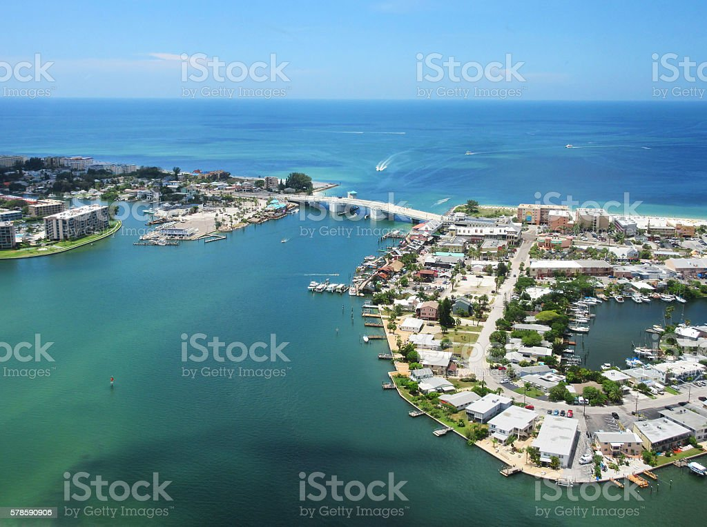 John's Pass Bridge and Boardwalk Village in Madeira Beach, Florida stock photo