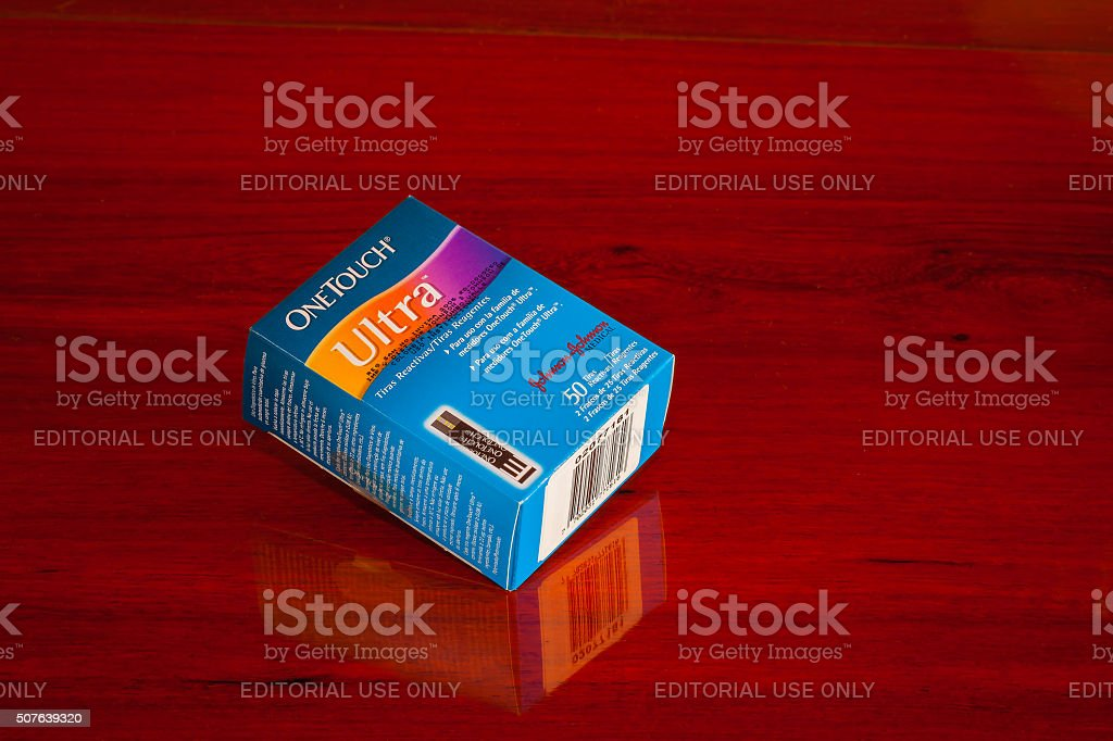 Johnson and Johnson OneTouch Glucometer Test Strips stock photo