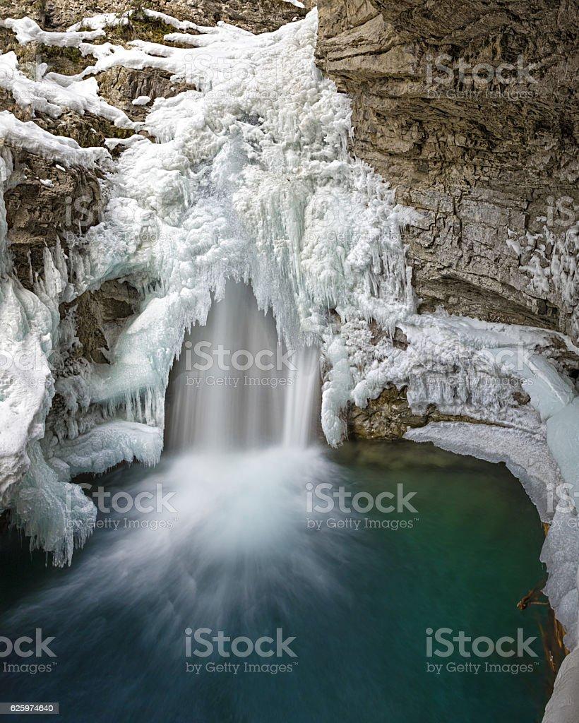 Johnston Canyon Falls Banff National Park Alberta Canada in winter stock photo
