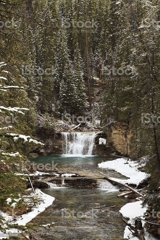 Johnston Canyon in Winter royalty-free stock photo
