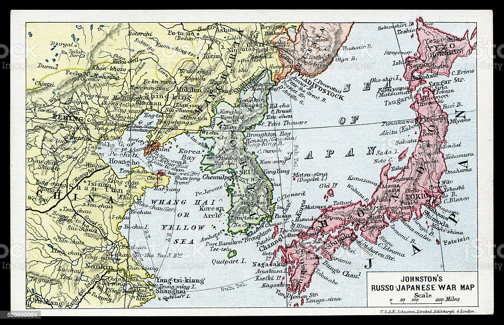 Johnston's Russo Japanese War Map postcard stock photo