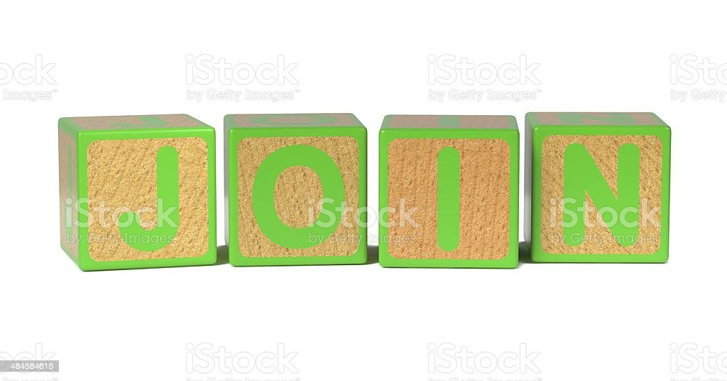 Join - Colored Childrens Alphabet Blocks. stock photo