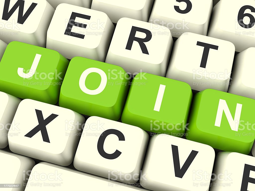 Join Computer Keys Showing Subscription And Registration royalty-free stock photo