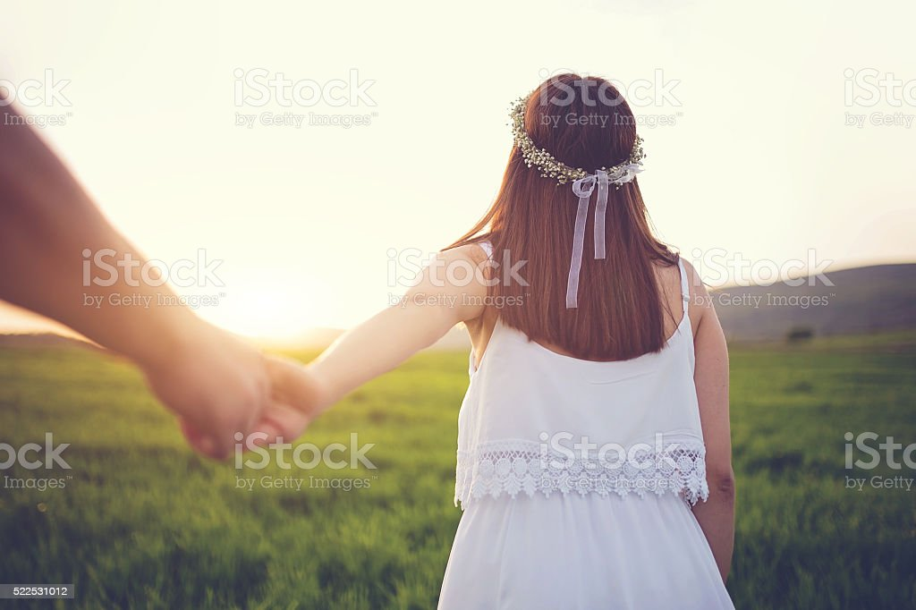 Join me in sunset stock photo