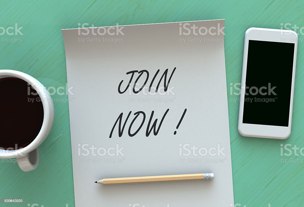 Join Now, message on paper stock photo