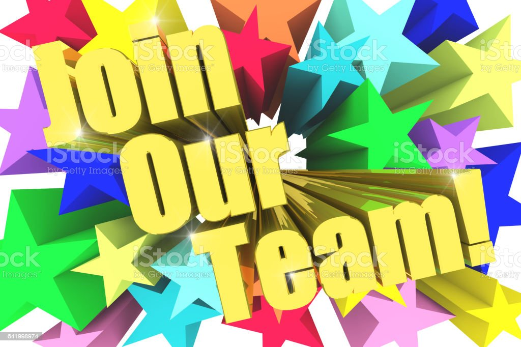 Join Our Team motto. Golden text with vivid stars stock photo