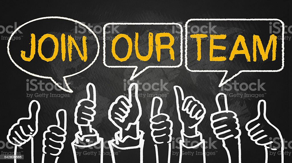 join our team.thumbs up on blackboard stock photo