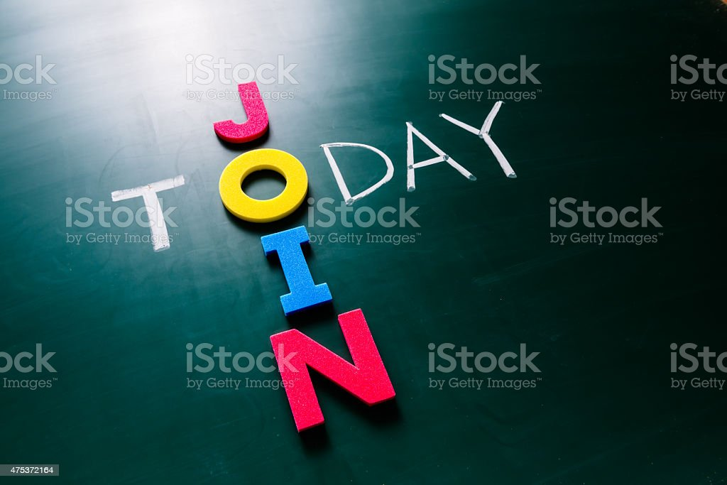 Join today concept on blackboard stock photo
