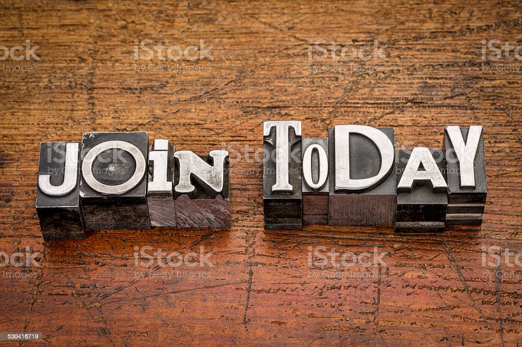join today in metal type stock photo