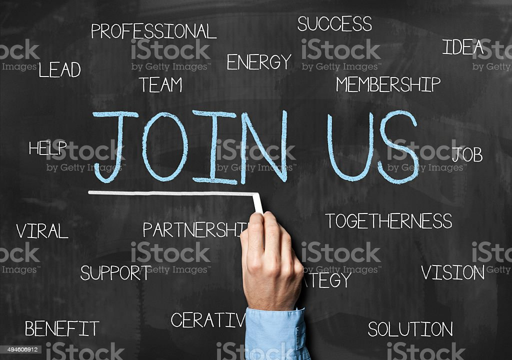 Join us / blackboard concept (Click for more) stock photo