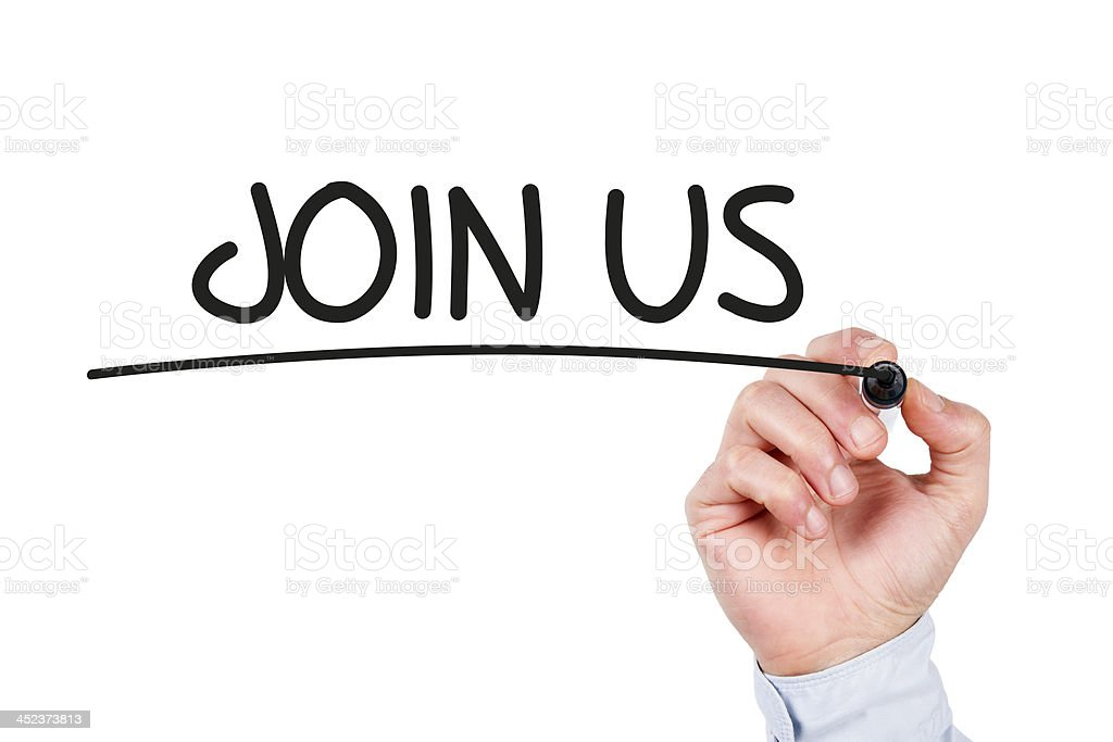 Join Us Concept on Whiteboard royalty-free stock photo