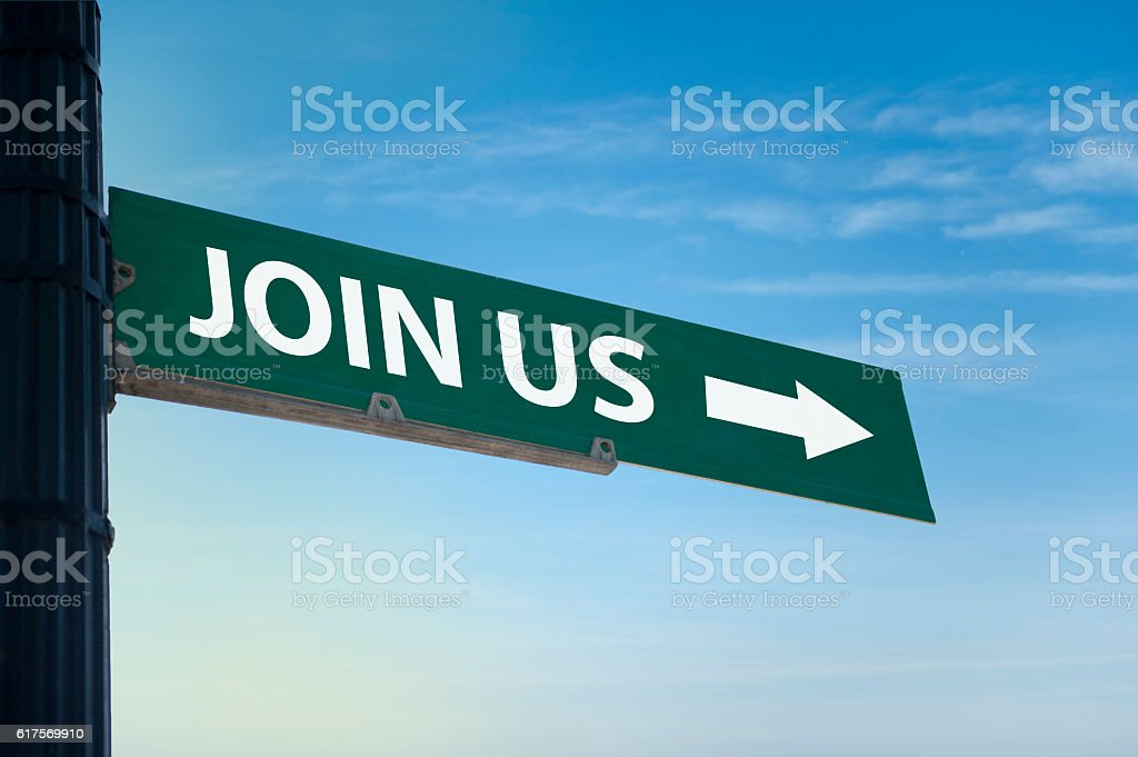 Join us / Warning sign concept (Click for more) stock photo