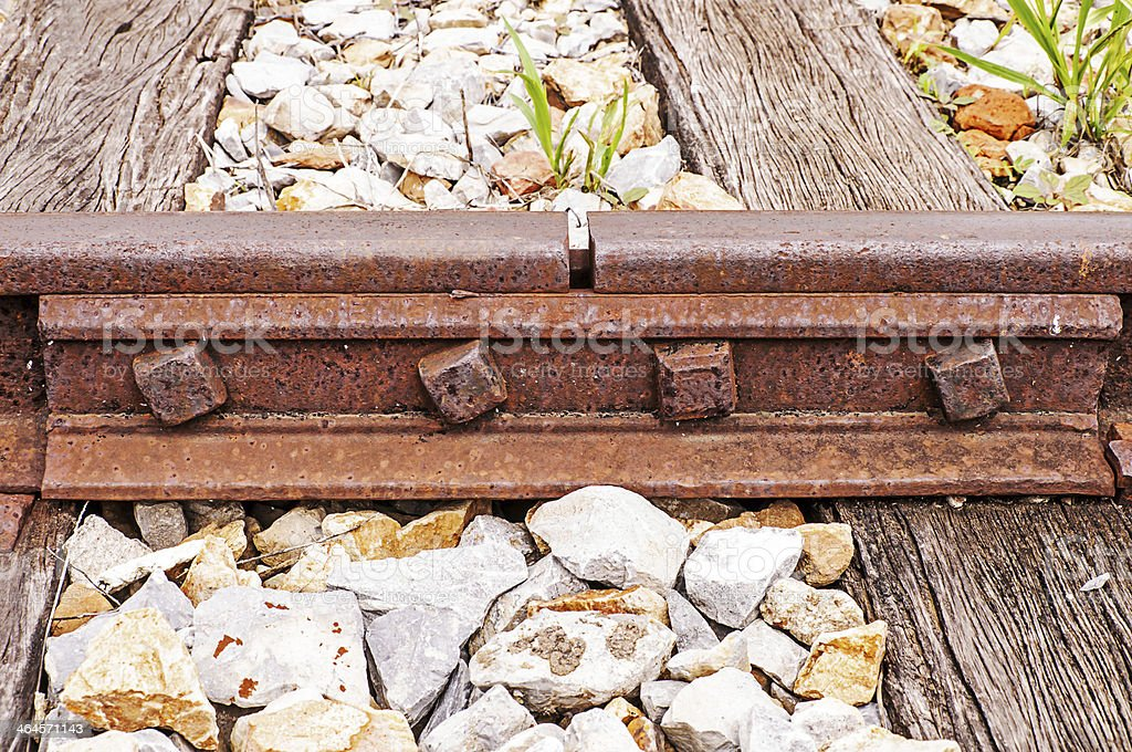 Joined train rails stock photo
