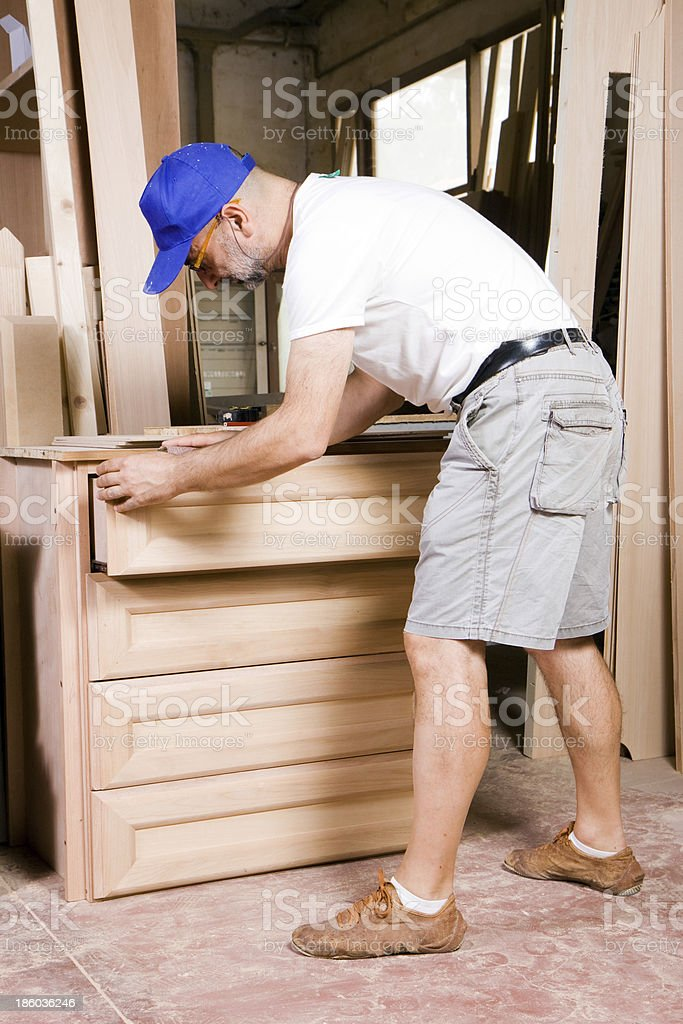 joiner at work in his shop royalty-free stock photo