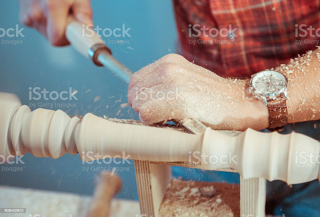 Joiner Grinding On Lathe stock photo