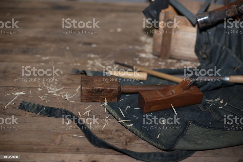 joiner tools on wood table background stock photo
