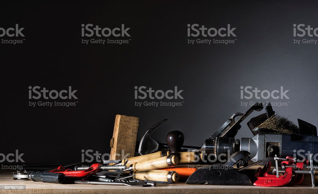 Joiner's tools lying on a wooden table. stock photo