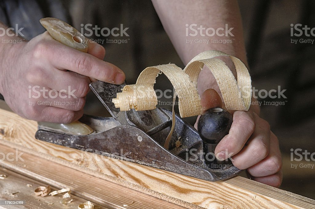 joinery workshop with wood royalty-free stock photo