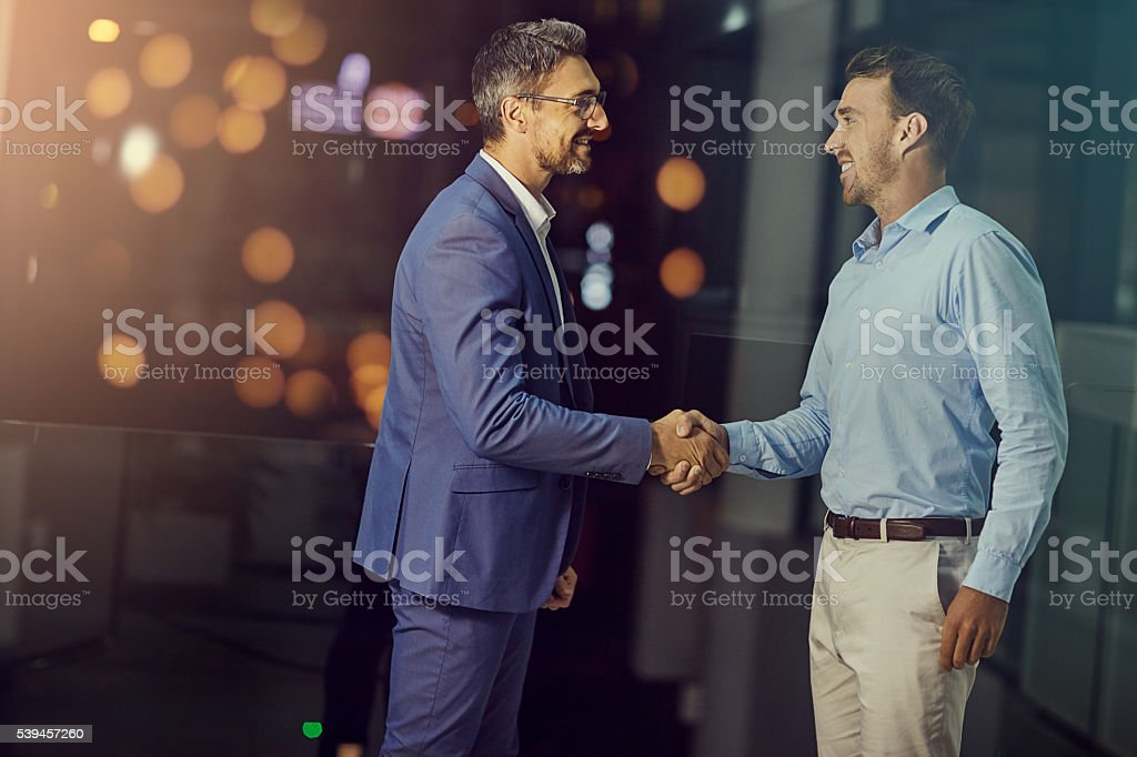 Joining forces for a productive partnership stock photo