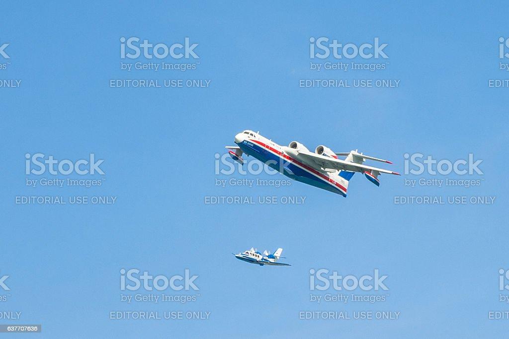 Joint flight performed by Beriev Be-200ES 'Altair' and Beriev Be-103 'Bekas' stock photo